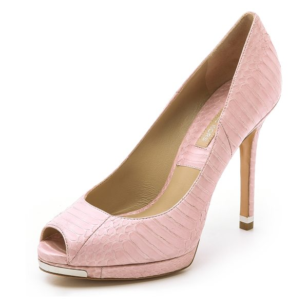 Michael Kors Collection Brenda snakeskin platform pumps in blush - Chic platform pumps by Michael Kors Collection, crafted...