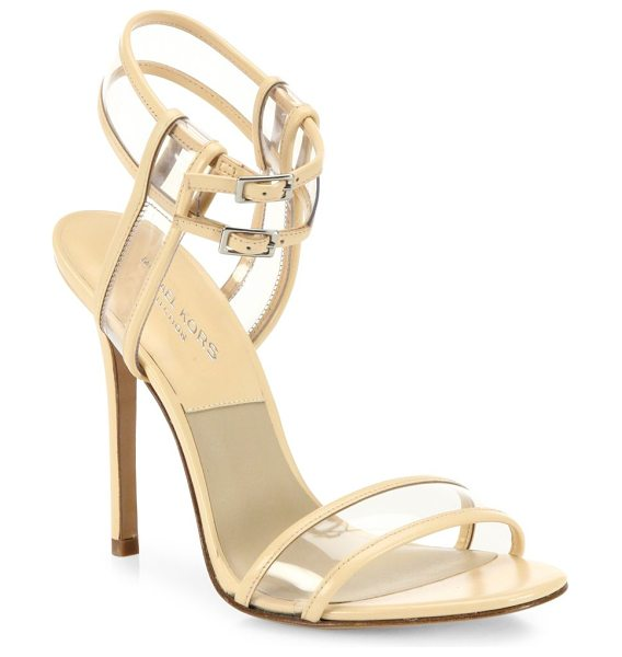 Michael Kors Collection brittany runway leather & vinyl pvc sandals in nude - Leather-trimmed PVC sandal with dual ankle straps....