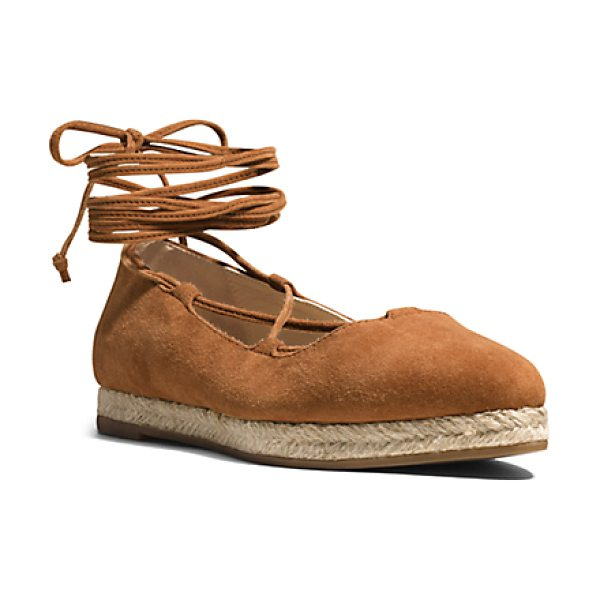 Michael Kors Collection Cadence Suede Flat in brown - I'm Strap Happy Says Michael. A Sleek Pointed-Toe...