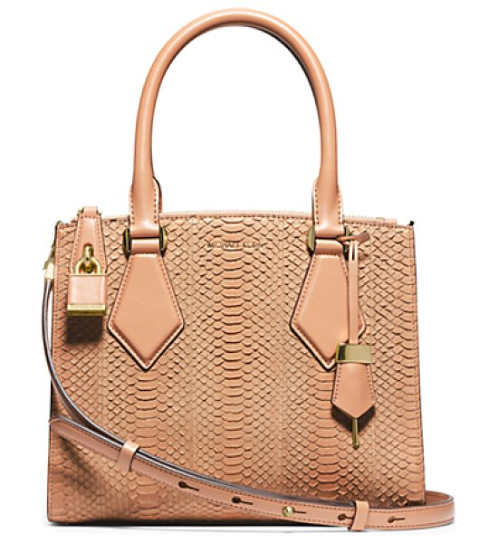 Michael Kors Collection Casey Small Sueded Snakeskin Satchel in brown - In My Designs I'm Constantly Striving To Create...