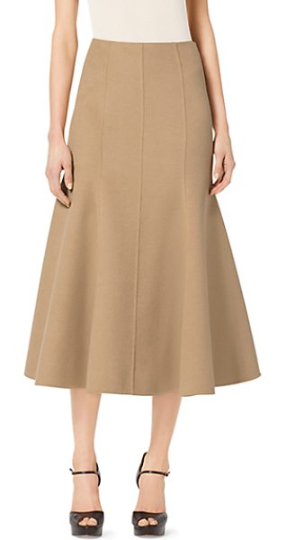 Michael Kors Collection Cashgora melton flared midi skirt in natural - This long lean skirt is the epitome of quiet luxury....