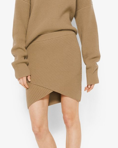 Michael Kors Collection Cashmere Ribbed Surplice Skirt in natural - Designed In Softly Ribbed Cashmere This Mini Skirt...