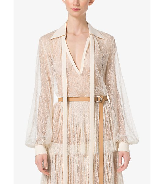 Michael Kors Collection Chantilly Lace Blouse in natural - I Love Tailored Pieces That Have Softness And Romance...