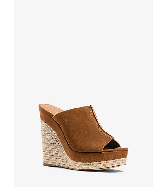 MICHAEL KORS COLLECTION Charlize Suede Wedge - Rich Chocolate Suede Mixes With Natural Jute Trim To...
