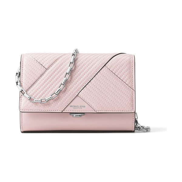 MICHAEL KORS COLLECTION chevron quilted leather crossbody in pink - Chevron quilting adds style to petite crossbody....