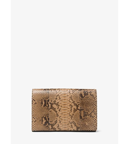 Michael Kors Collection Chrissy Slashed Python Clutch in natural - Genuine Python And Dramatic Slashes Deliver Tactile Edge...