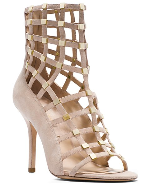 Michael Kors Collection Cora studded suede ankle boot in nude - Dramatic with a touch of sparkle-these shoes were...