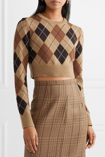 Michael Kors Collection cropped argyle cashmere sweater in brown - Michael Kors says that at the start of each new season...