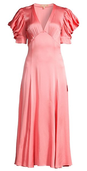 Michael Kors Collection crushed satin puff-sleeve midi dress in petal