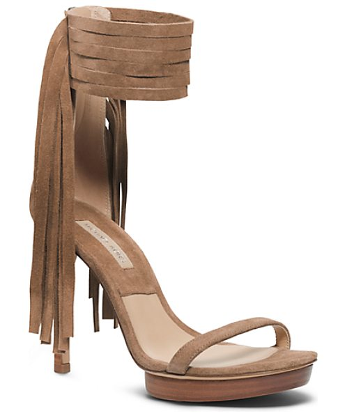 Michael Kors Collection Daphne Suede Sandal in brown - Fall's Fascination With Fringe Has Hit A Sartorial...