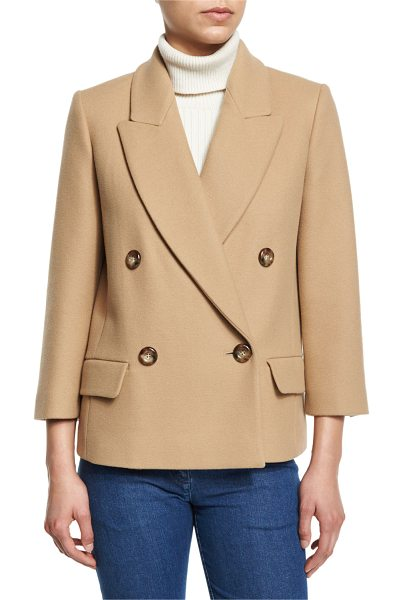 Michael Kors Collection Single-Breasted Long Sleeve Blazer in fawn - Michael Kors Collection virgin wool blazer. Notched...