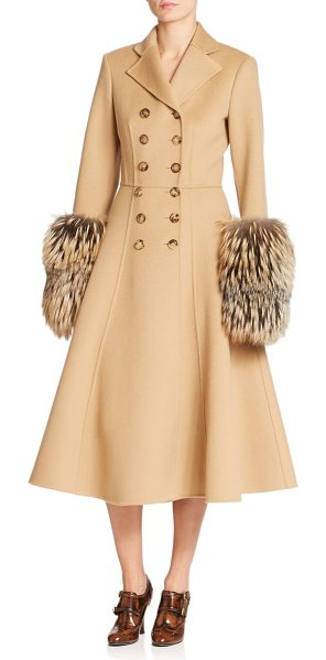 Michael Kors Collection Double-face wool & fox fur princess coat in fawn - Oversized fox fur cuffs lend dramatic detail to this...