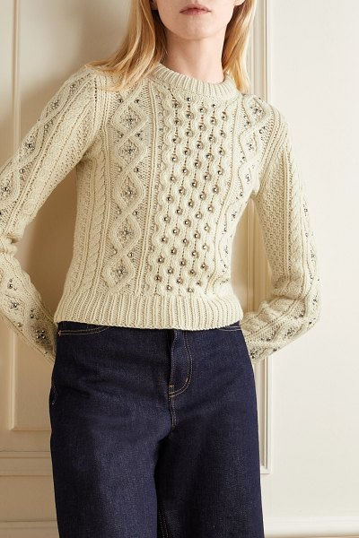 Michael Kors Collection embellished cable-knit cashmere sweater in cream