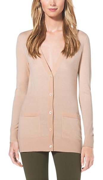 Michael Kors Collection Featherweight Cashmere Cardigan in natural - Traditionally Cozy This Cardigan Lightens Up With A...