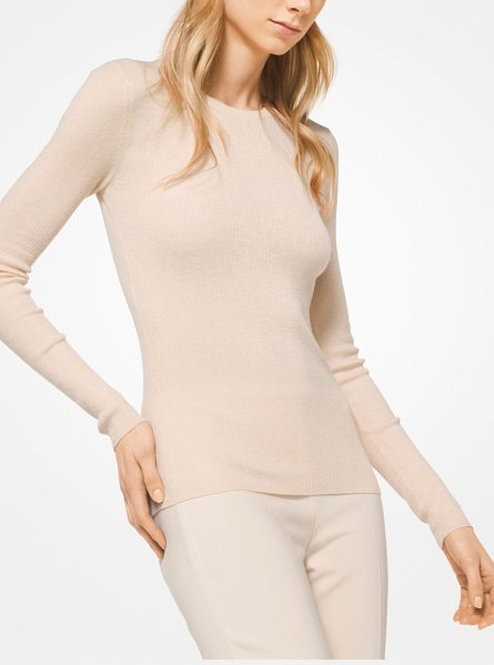 Michael Kors Collection Featherweight Cashmere Pullover in natural - Delicate Ribbing And A Classic Crew Neckline Define This...