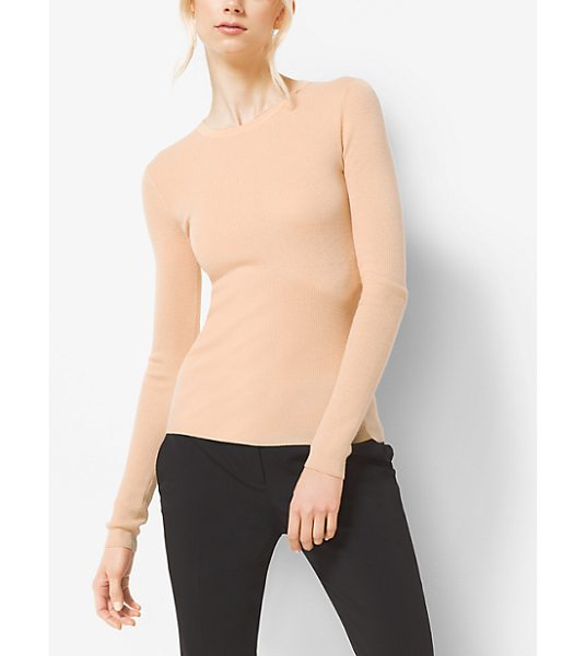 Michael Kors Collection Featherweight Cashmere Sweater in natural - Delicate Ribbing And A Classic Crew Neckline Define This...