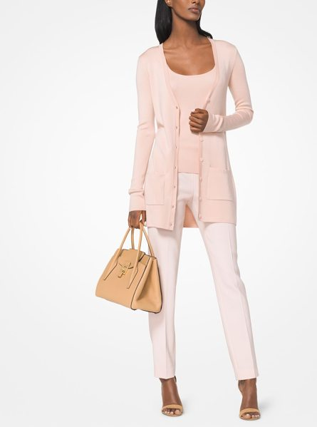 Michael Kors Collection Featherweight Tropical Cashmere Pullover in pink - Knit From A Sumptuous Blend Of Merino Wool Silk And...