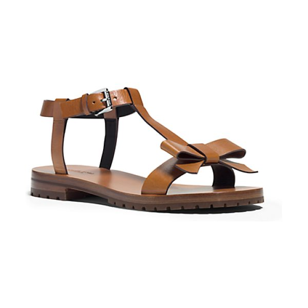 MICHAEL KORS COLLECTION Fiona Runway Leather Sandal in brown - I Love The Idea Of Embracing Femininity In A Sporty Way...