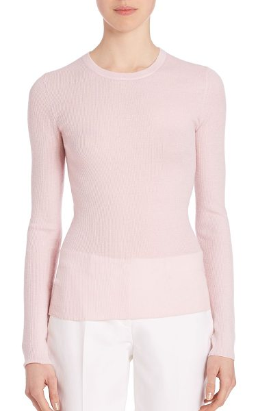 Michael Kors Collection fitted cashmere sweater in blush - Luxurious lightweight cashmere with a slim fit....