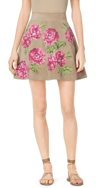 Michael Kors Collection Floral-Embroidered Suede Skirt in natural - Spring's Skirts Are All About Movement And A Defined...