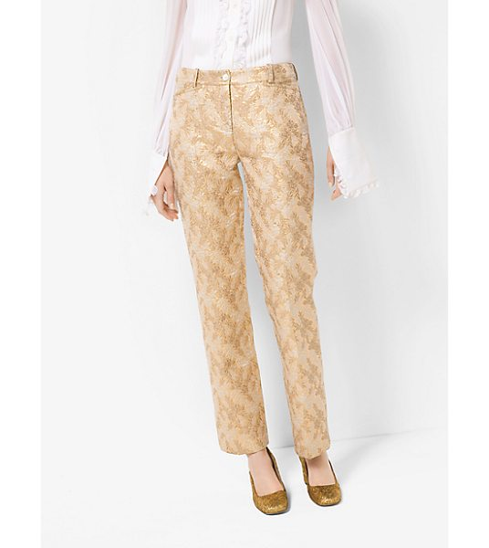 Michael Kors Collection Floral Metallic Jacquard Trousers in gold - Glamorous Metallic Floral Jacquard Details Instill These...