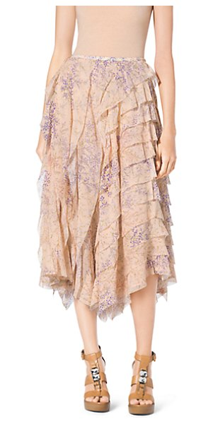Michael Kors Collection Floral-Print Ruffle Silk-Chiffon Skirt in natural - A Garden-Party Print And Rows Of Ruffles Unite On This...
