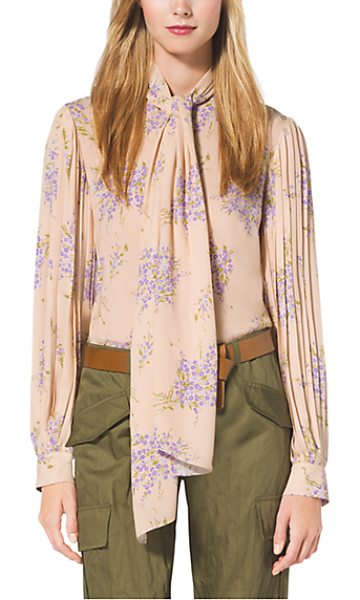 Michael Kors Collection Floral-Print Silk-Georgette Blouse in natural - Pleat Detailing At The Sleeves And A Dramatic Tie-Neck...