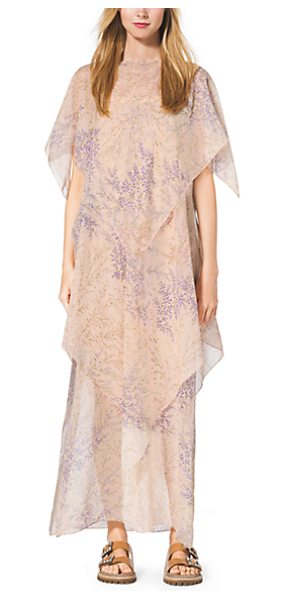MICHAEL KORS COLLECTION Floral-Print Tiered Silk-Chiffon Caftan - Go With The Flow. A Soft Floral Print And Diaphanous...