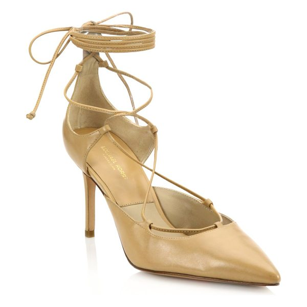 Michael Kors Collection gabby point toe leather lace-up pumps in toffee - Leather point-toe pump with wraparound laces....