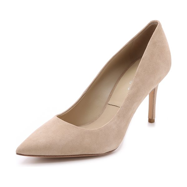 Michael Kors Collection Garner suede pumps in fawn - A pointed toe and covered mid heel give these Michael...