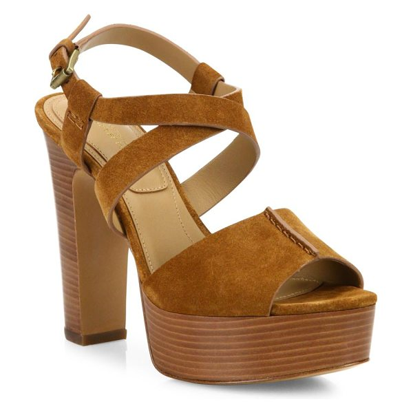 Michael Kors Collection gramercy suede platform sandals in luggage - Strappy suede sandal set on stacked wooden platform....