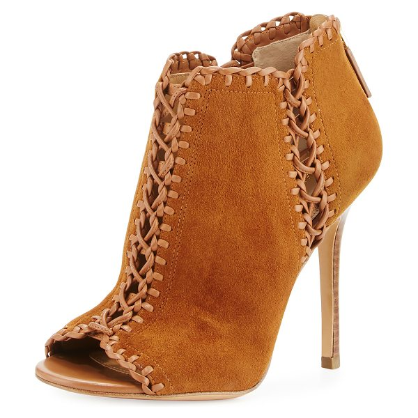 Michael Kors Collection Henley Whipstitch Peep-Toe Bootie in dark luggage - Michael Kors Collection suede bootie with whipstitch...