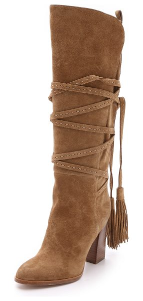 Michael Kors Collection Jessa suede wrap boots in camel - These '70s inspired Michael Kors Collection boots are...