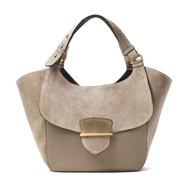 Michael Kors Collection Josie Large Suede & Leather Shopper Tote Bag in dark taupe - Michael Kors Collection leather and suede shoulder bag....