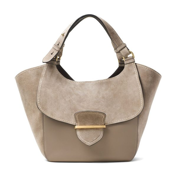 Michael Kors Collection josie large suede & leather shopper tote in dark taupe - Winged suede-and-leather tote with flap-front design....