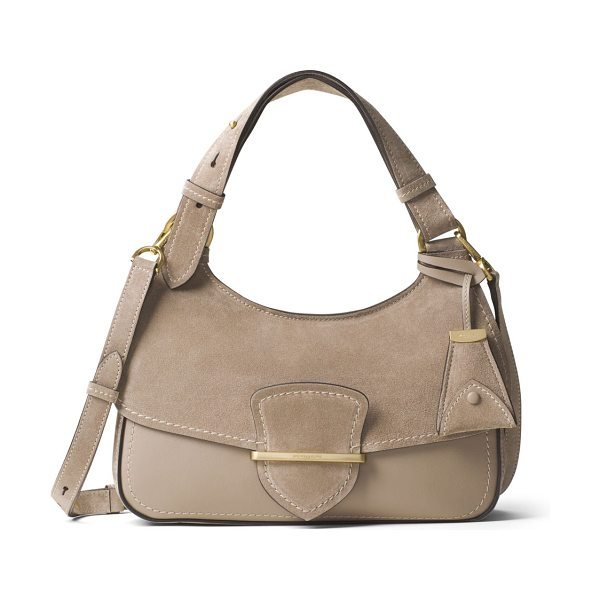 Michael Kors Collection josie medium suede & leather shoulder bag in dark taupe - Suede-and-leather shoulder bag with flap-front design....