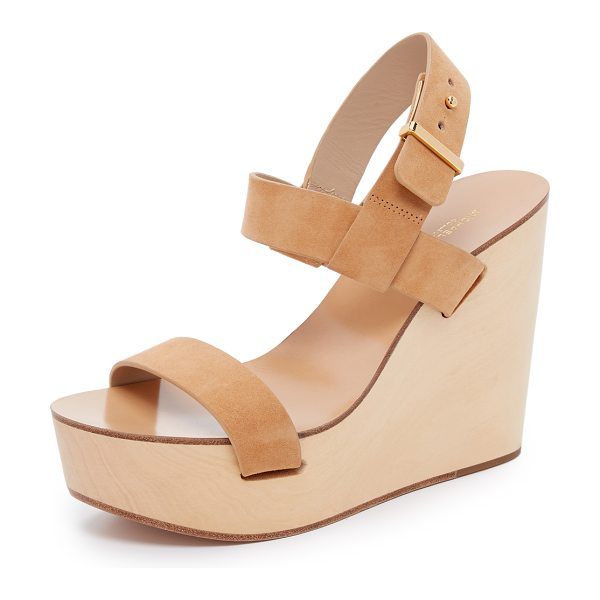 Michael Kors Collection Juliana wedge sandals in peanut - A natural wood base gives these Michael Kors Collection...