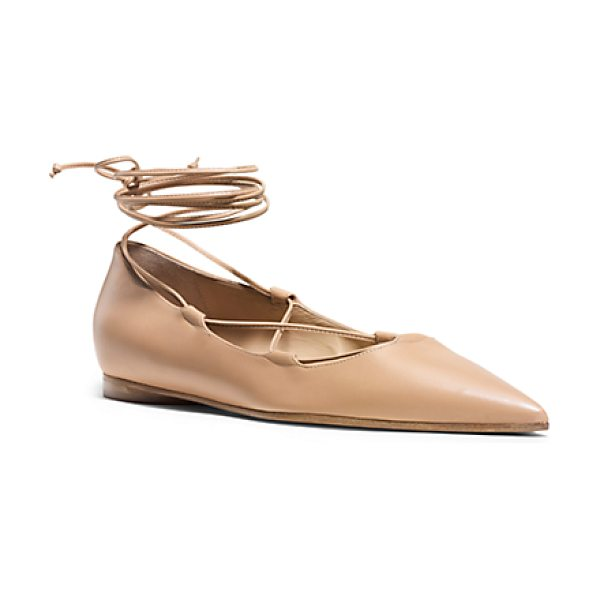 Michael Kors Collection Kallie Leather Lace-Up Flat in brown - Whether She's Dressed For Evening Work Or Weekend This...