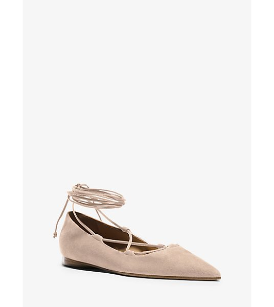 Michael Kors Collection Kallie Runway Suede Lace-Up Flat in natural - Whether She's Dressed For Evening Work Or Weekend This...