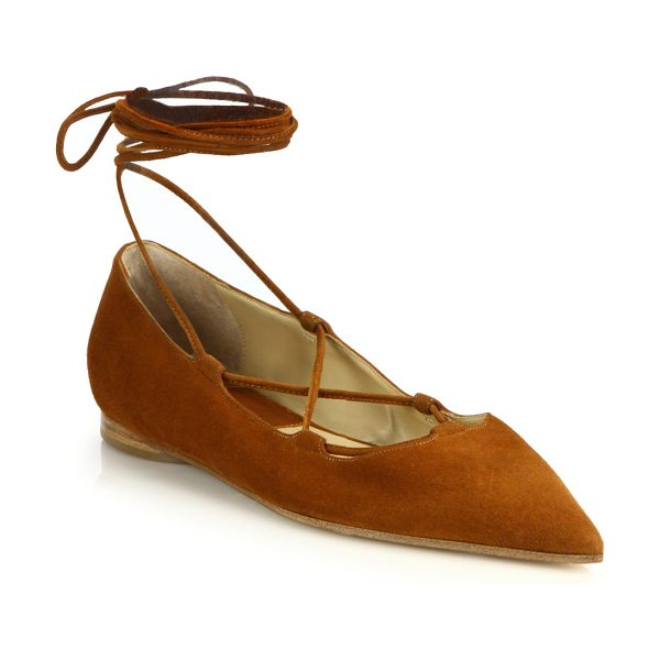 Michael Kors Collection Kallie runway suede lace-up flats in saddle - Elegant suede flats secured by sleek lace-up detailSuede...