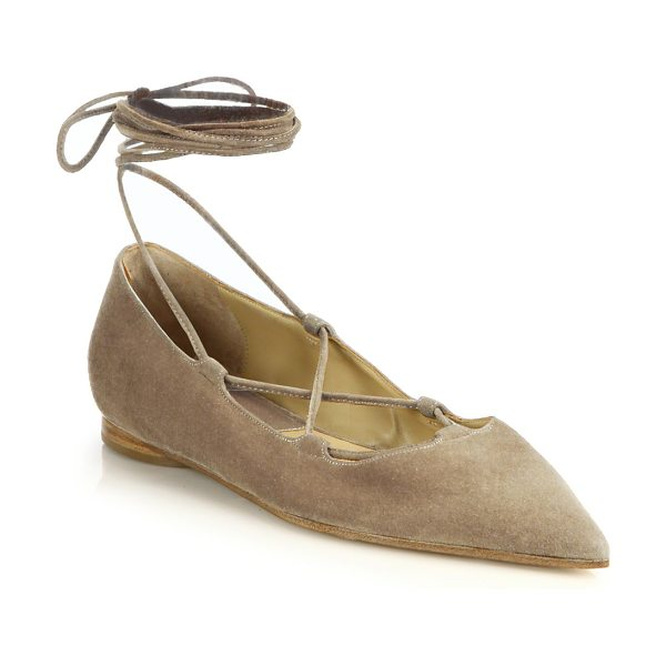 Michael Kors Collection Kallie runway suede lace-up flats in fawn - Elegant suede flats secured by sleek lace-up detailSuede...