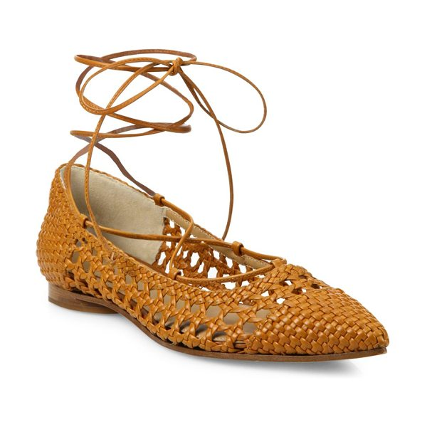 Michael Kors Collection Kallie woven leather lace-up flats in luggage - Basket-weave leather flats with lace-up stylingLeather...
