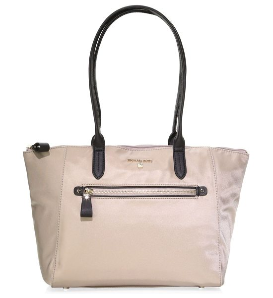 MICHAEL Michael Kors medium kelsey nylon zip tote in truffle - Contrast trim adds an edge to this spacious tote. Top...