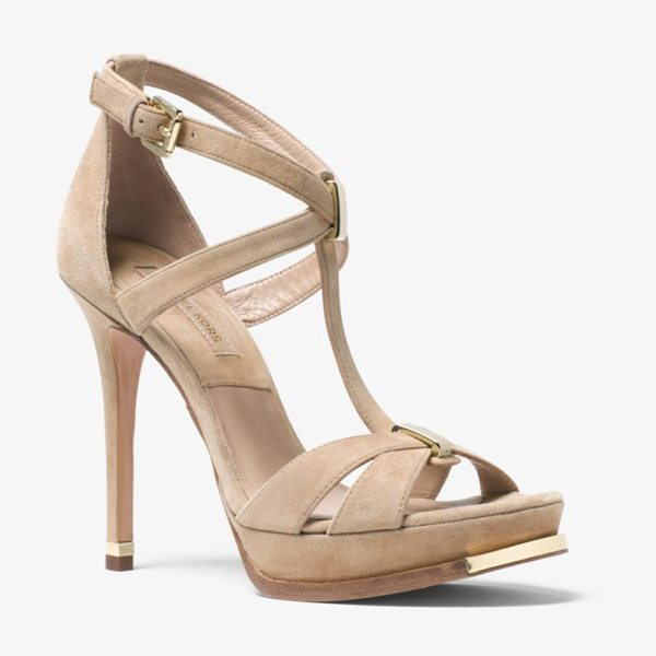 Michael Kors Collection Leandra Suede Sandal in natural - Rendered In Sumptuous Suede These Leandra Sandals...