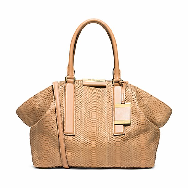 Michael Kors Collection Lexi Large Sueded Snakeskin Satchel in brown - A Classic Carryall With Contemporary Appeal Our Lexi...