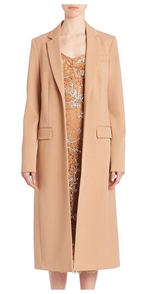 Michael Kors Collection Long bonded wool coat in suntan - Easy, tailored overcoat adds style to any look. Notch...