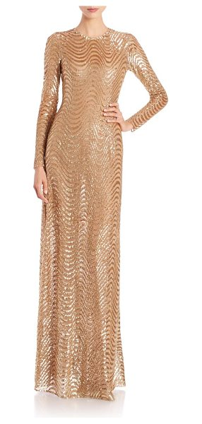 Michael Kors Collection Long-sleeve sequined wave gown in gold - Sequined waves add glamorous dimension to column gown....