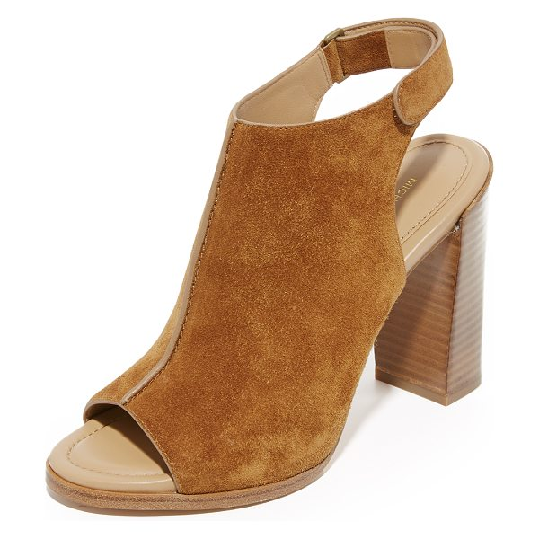 Michael Kors Collection maeve open toe booties in luggage - Luxe suede Michael Kors Collection booties in an open...