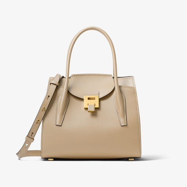 Michael Kors Collection Bancroft Medium Pebbled Calf Leather Satchel in natural - Crafted In Italy The Bancroft Satchel Evokes A Laid-Back...