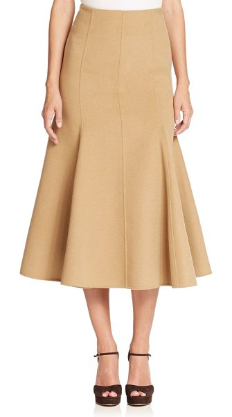 MICHAEL KORS COLLECTION Melton flutter midi skirt in fawn - Crafted from a plush blend of wool, angora and cashmere,...